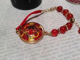 Mandala Ladybug Red Beads Marcella Bracelet Love Fortune Balance Gold Tone  image 2