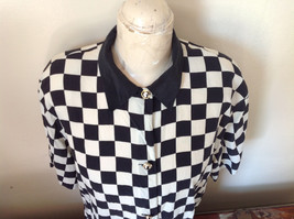 Max Mara Black and White Checkered Short Sleeve Button Down Blouse No Size image 2