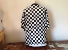 Max Mara Black and White Checkered Short Sleeve Button Down Blouse No Size image 6