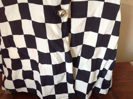 Max Mara Black and White Checkered Short Sleeve Button Down Blouse No Size image 4