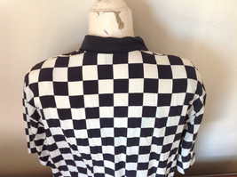 Max Mara Black and White Checkered Short Sleeve Button Down Blouse No Size image 8