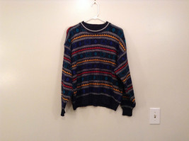 McGregor Size Large Black with Green Yellow Blue Red Geometric Lines Sweater image 2
