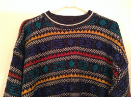 McGregor Size Large Black with Green Yellow Blue Red Geometric Lines Sweater image 3