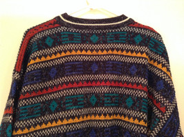 McGregor Size Large Black with Green Yellow Blue Red Geometric Lines Sweater image 5