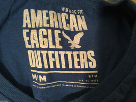 Mens American Eagle Blue White Eagle decal 100% cotton short sleeve T-shirt, Med image 4