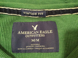 Mens American Eagle Green White Eagle design cotton long sleeve T-shirt, Size M image 5