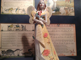 Angel with Bouquet Tall Mira Flora Handcrafted Resin Angel Figurine image 4