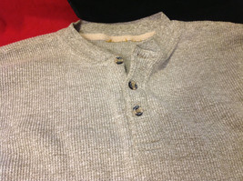 Mens Heathered Light Brown Long Sleeve Thermal Henley size Medium or Large image 2