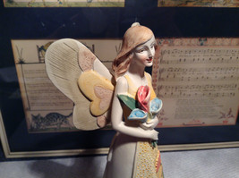 Angel with Bouquet Tall Mira Flora Handcrafted Resin Angel Figurine image 6