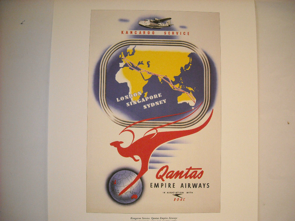 Reproduction Print Vintage Travel Ad for Qantas Empire Airways Kangaroo Service