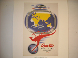 Reproduction Print Vintage Travel Ad for Qantas Empire Airways Kangaroo Service image 1