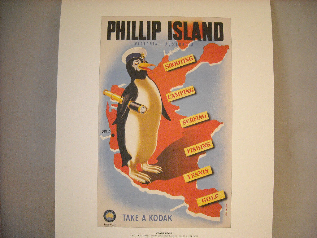 Reproduction Print of Vintage Travel Ad for Phillip Island Victoria Australia