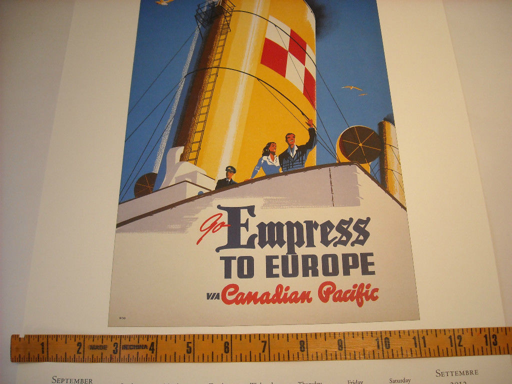 Reproduction Print of Vintage Travel Ad for Canadian Pacific Empress Steamship