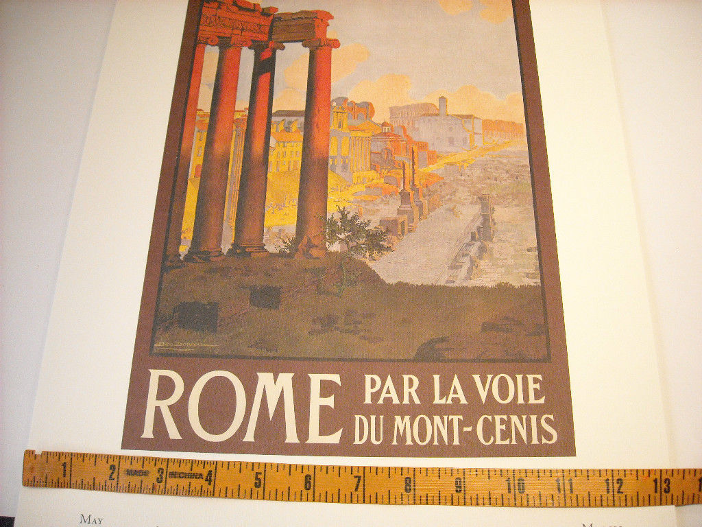 Vintage Reprint Color 1920 Travel Ad Rome, Italy Mont-Cenis Ruins Paris Poster