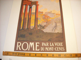 Vintage Reprint Color 1920 Travel Ad Rome, Italy Mont-Cenis Ruins Paris Poster image 1