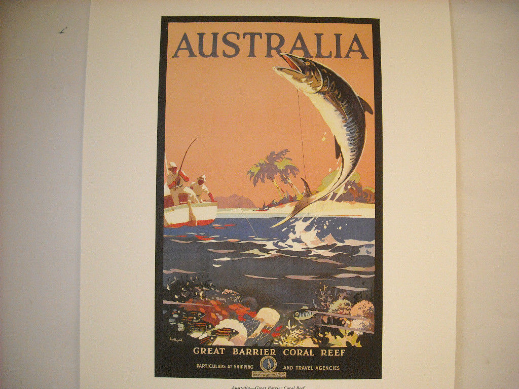 Reproduction Print of Vintage Travel Ad for Australia Great Barrier Reef