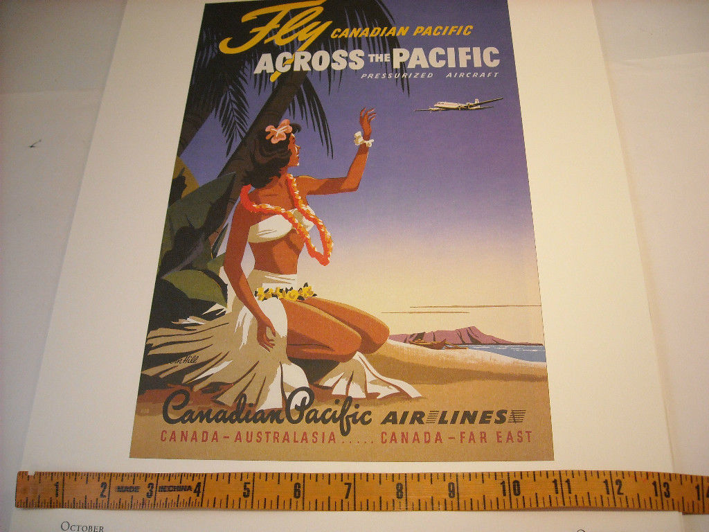 Reproduction Print of Vintage Travel Ad for Canadian Pacific Airline