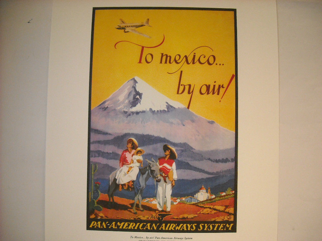 Reproduction Print of Vintage Travel Mexico By Air Pan American Airways System