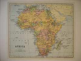 Reproduction of Vintage Color Map Print of Africa W & A.K. Johnston