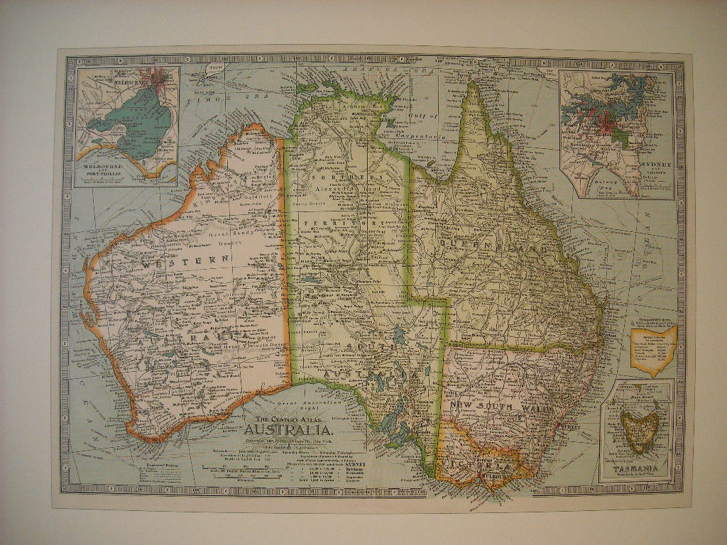Reproduction print of Vintage map of Australia from The Century Atlas 1897