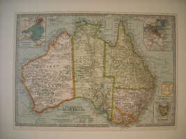 Reproduction print of Vintage map of Australia from The Century Atlas 1897 image 1