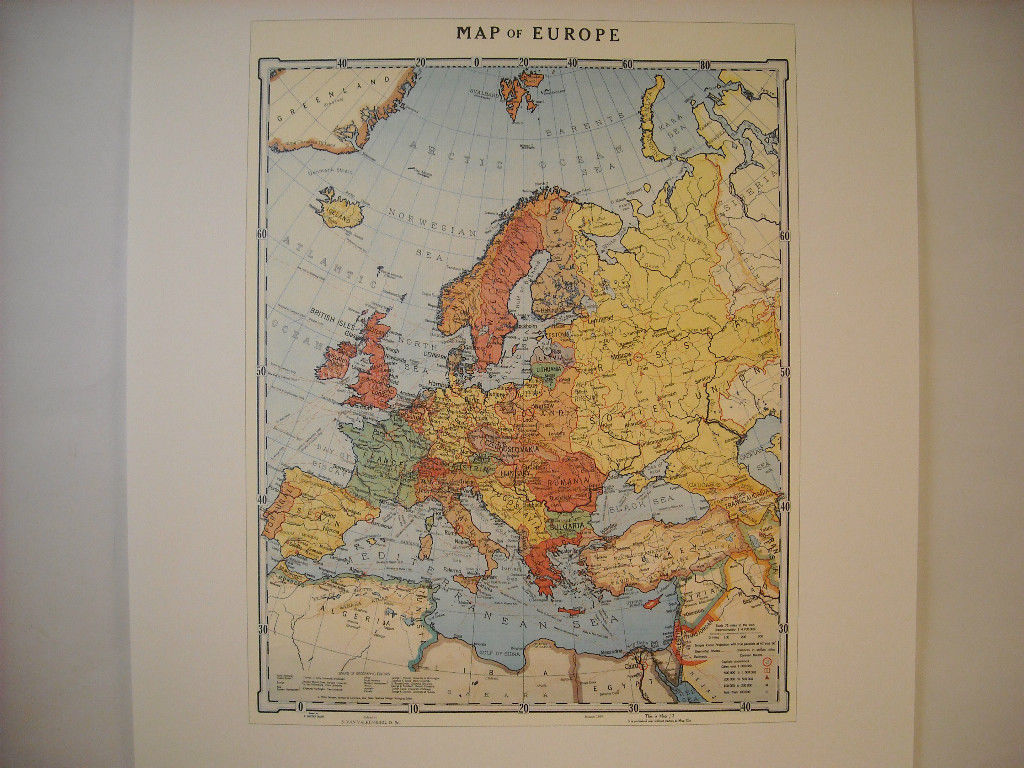 Reproduction print Vintage 1935 Map of Europe with steamship routes railroads