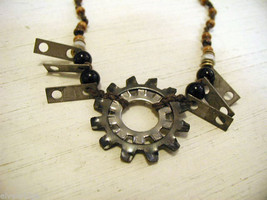 Repurposed tribal punk hand knotted necklace with metal garage artifacts gears