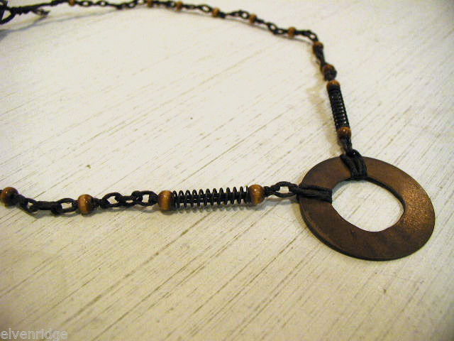 Repurposed tribal punk hand knotted necklace