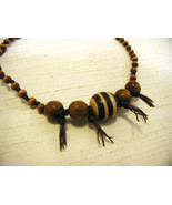 Repurposed tribal punk hand knotted necklace with coconut wood beads - $39.99
