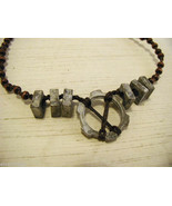 Repurposed tribal punk hand knotted necklace with metal garage artifacts - $80.18