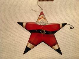 Metal Santa Star Shaped Ornament Tree or Wall Ornament Vintage Look image 2