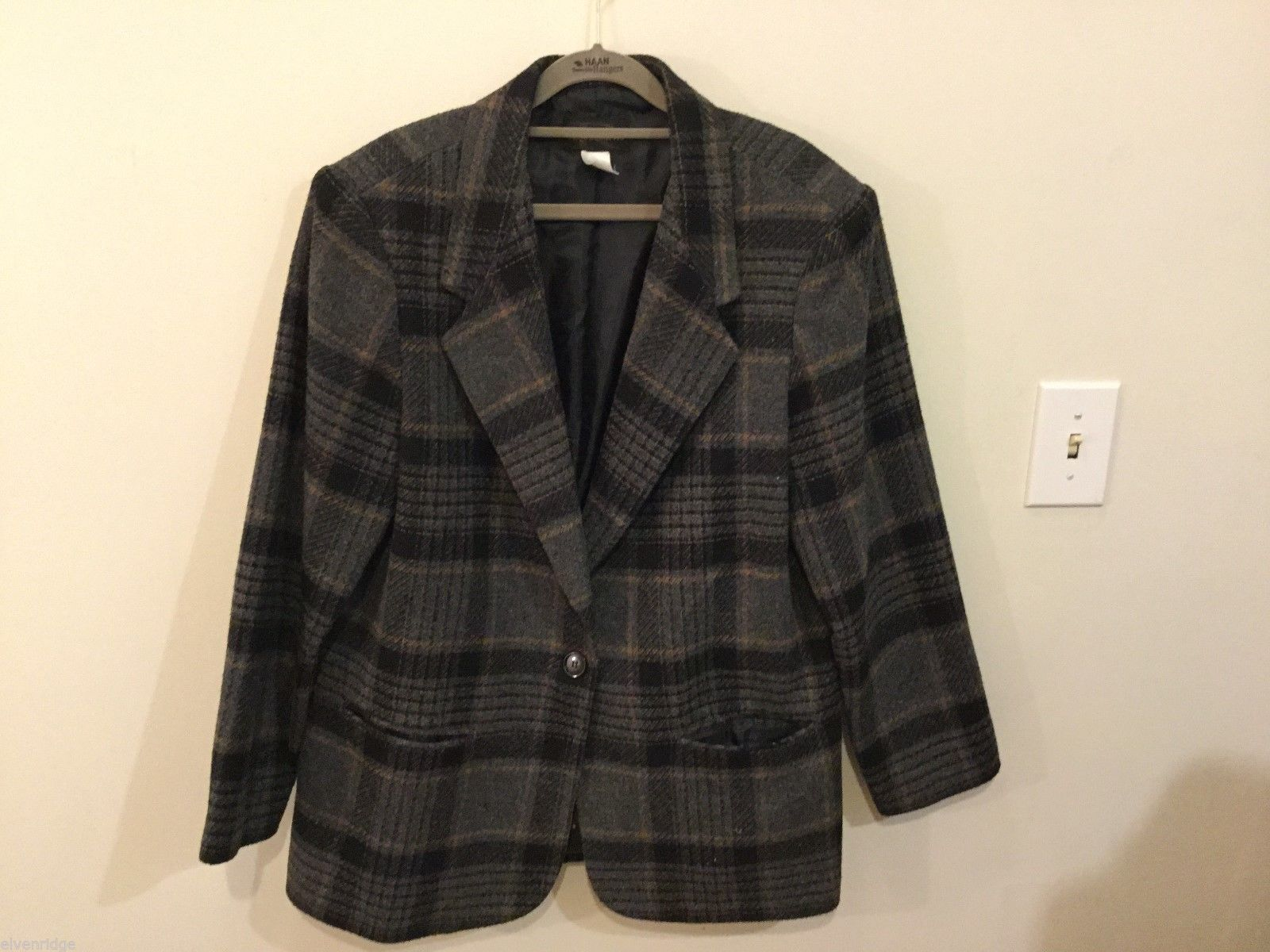 Requirements Women's Plaid Peacoat, Size 14