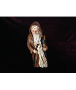 Resin Cast Painted Figurine Old Man with Gifts and Walking Stick Vintage... - $39.99