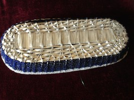 Metal Woven Basket Silver metal and Blue Beads Along Sides image 5