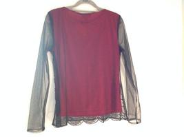 Metaphor Black Mesh Red Background Swirly Beaded Long Sleeve Shirt Size Medium image 6