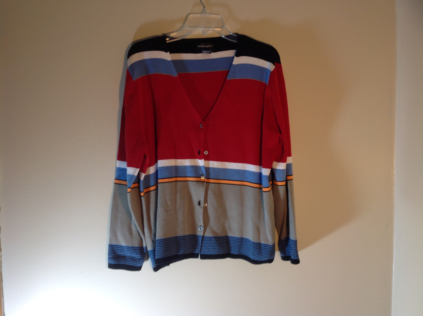 Requirements Long Sleeve Button Up Cardigan Multicolor Stripes Size XL