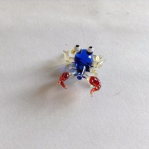 Micro Miniature small hand blown glass clear blue and red crab made USA NIB image 2