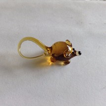 Micro Miniature small hand blown glass brownish mouse w long tail made USA NIB image 3