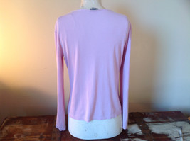 Ann Taylor Long Sleeve Light Pink Purplish Hue Scoop Cut Made in China Size L image 3