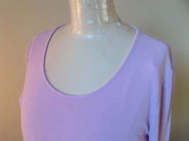 Ann Taylor Long Sleeve Light Pink Purplish Hue Scoop Cut Made in China Size L image 4
