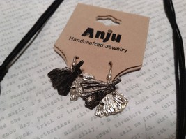 Pewter Necklace Earring Silver w Oxidized Ginkgo Leaf Vintage Look Handcrafted image 5