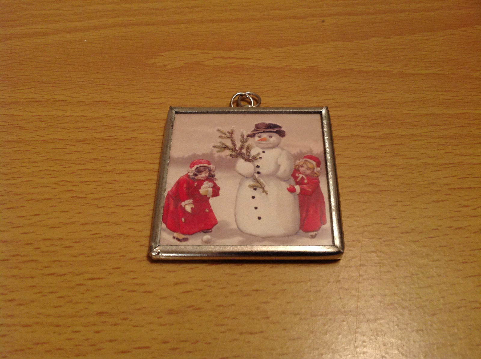 Reversible Versatile Charm Present Tie On Tag Metal Glass Tag Snowman Believe In