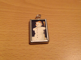 Reversible Versatile Charm Present Tie On Tag Metal Glass Tag Snowman Believe