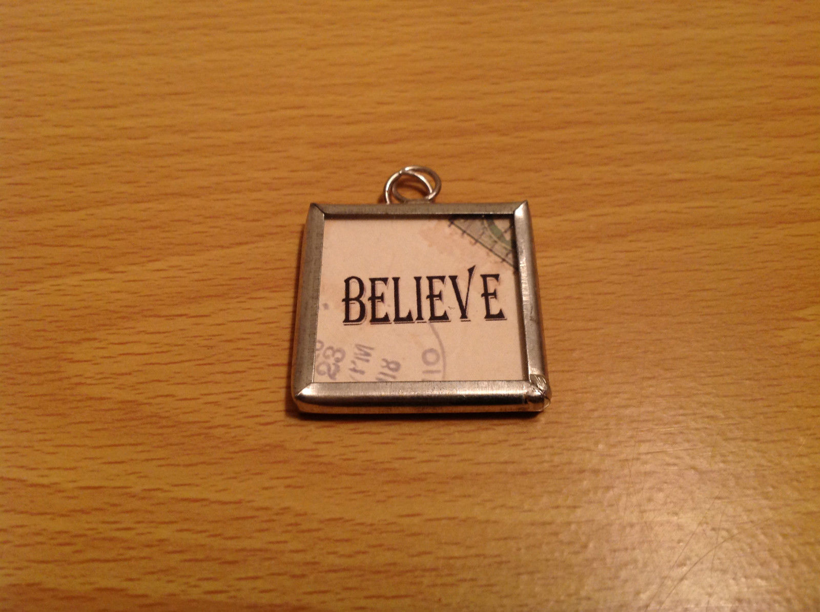 Reversible Versatile Metal and Glass Tag Charm Present Tie On Believe and Santa