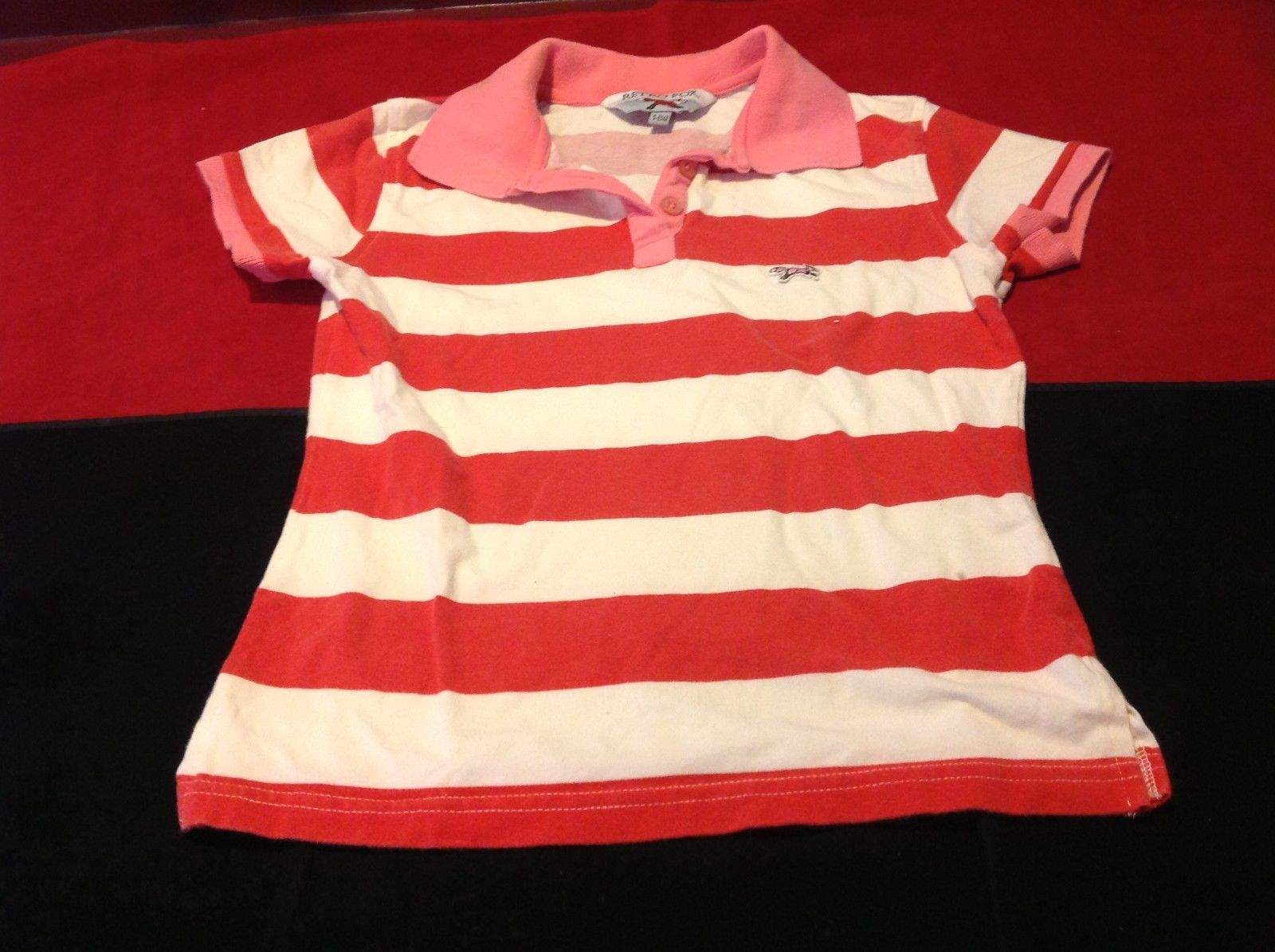 Retro Fox women's pink & white short sleeve polo shirt size small