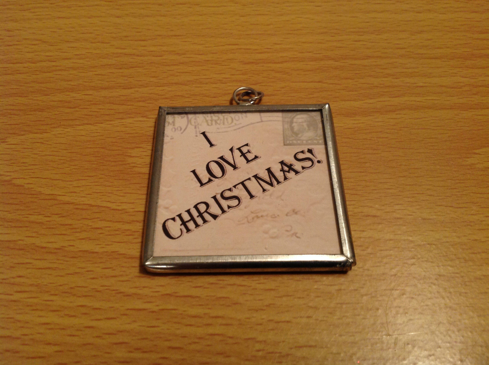 Reversible Versatile Charm Present Tie On Tag Metal Glass Tag I Love Christmas