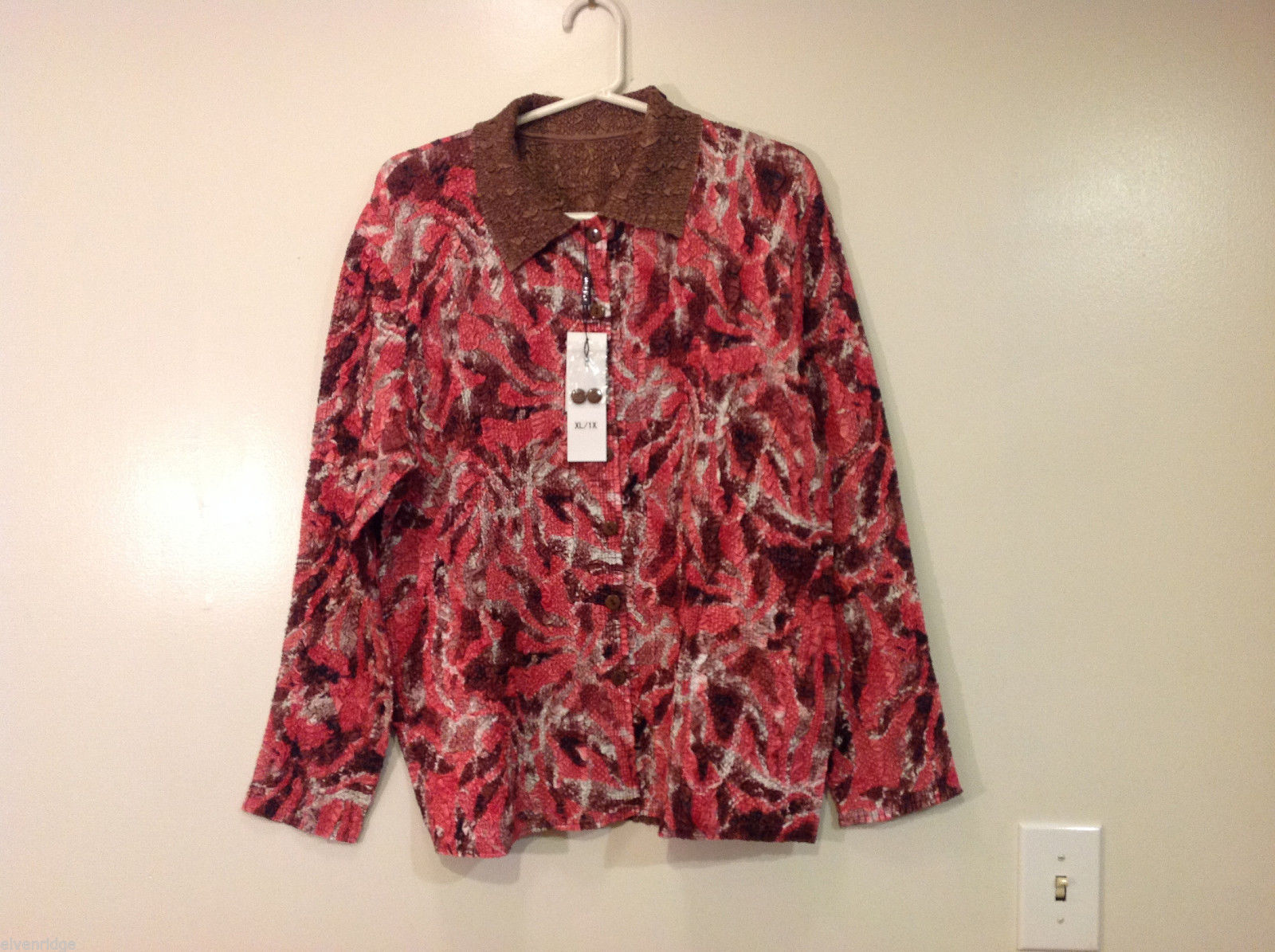 Reversible Batik Blush Pink to Solid Brown Pleated Shirt Jacket Top, Size XL-1X