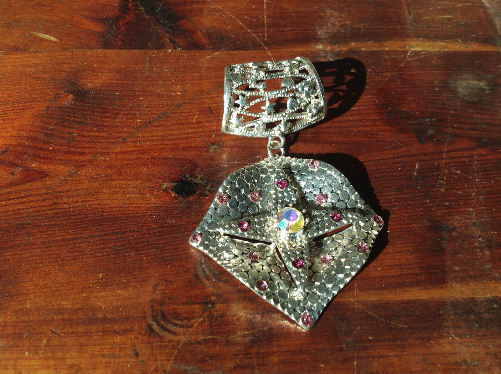 Rhombus with Violet Crystals and Multicolored Crystal Silver Tone Scarf Pendant