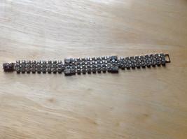Rhinestone Wide Band Silver Tone Clasp Closure Bracelet