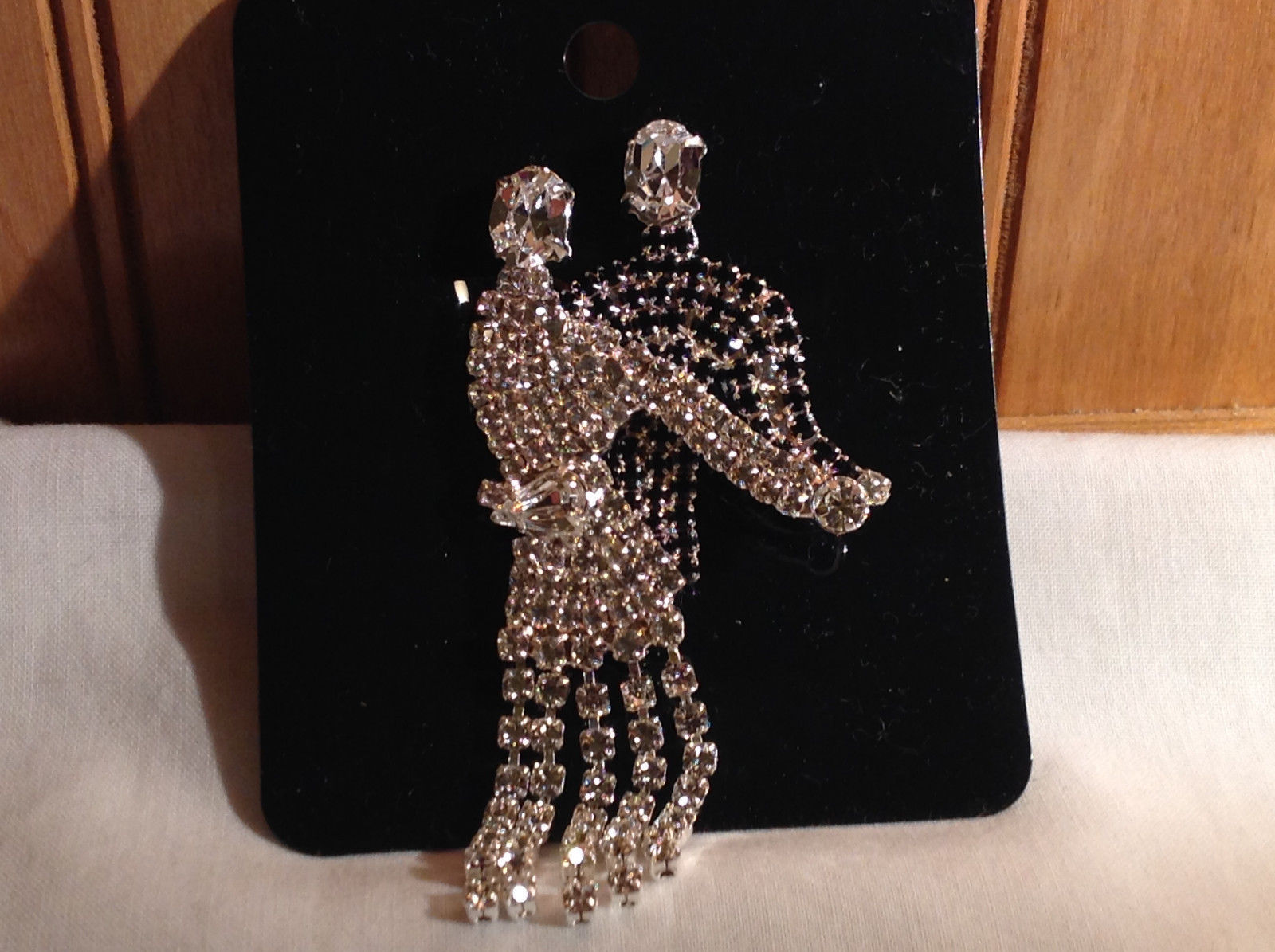 Rhinestone Man and Woman Dancing Pin Womans Skirt Swooshes from Side to Side